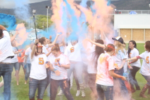 Snow College students gather for a chalk throw before the Homecoming football game on Saturday.  By Taylor Peterson