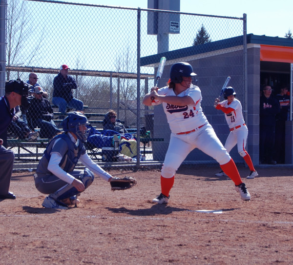 BritLee Anderson bats for the Badgers during one of their games against SLCC. The Badgers ended up dropping all four games to the Bruins. Photo by Hannah Branch