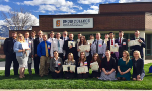 The Business Clubs, excelling at PBL, show off their certificates. Photo courtesy of the Business Club's FaceBook page.